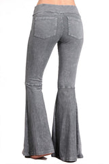 French Terry Bell Bottom Yoga Pants with Pockets Gray