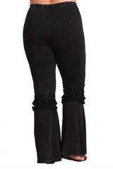 Women's Plus Tassel Bell Bottom Stretch Yoga Pants Black