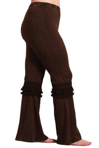 Women's Plus Tassel Bell Bottom Stretch Yoga Pants Brown
