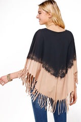 Boho Western Fringe Dip Dye V Neck Poncho Throw-Over