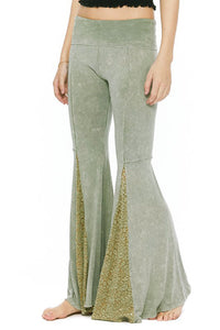 Sage Green Bell Bottom Yoga Pants with Lace Flares
