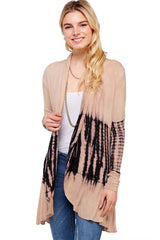 Long Sleeve Open Front Tie Dye Cardigan Cappuccino