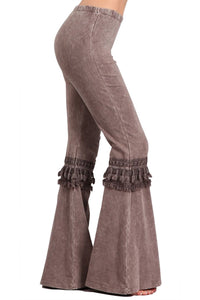 Women's Tassel Bell Bottom Stretch Yoga Pants Brown