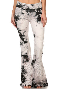 White and Black Tie-Dye Bell Bottoms from T-Party