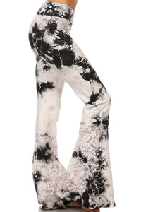 White Yoga Pants with Wide Lace Bell Bottoms. Made in USA