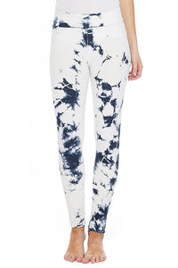T-Party White Yoga Leggings with Navy Blue Crystal Tie Die
