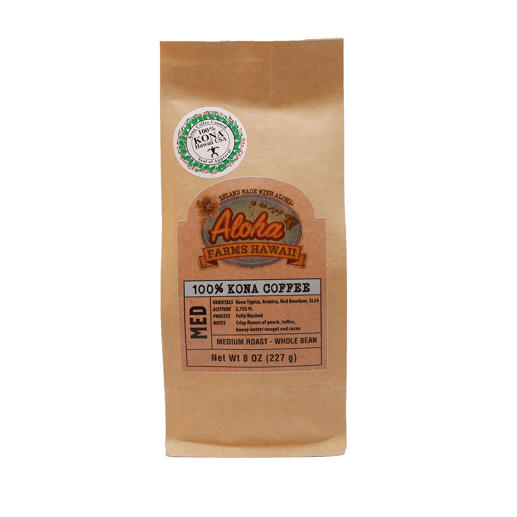 100% Kona Coffee - Medium Roast (Whole Bean)