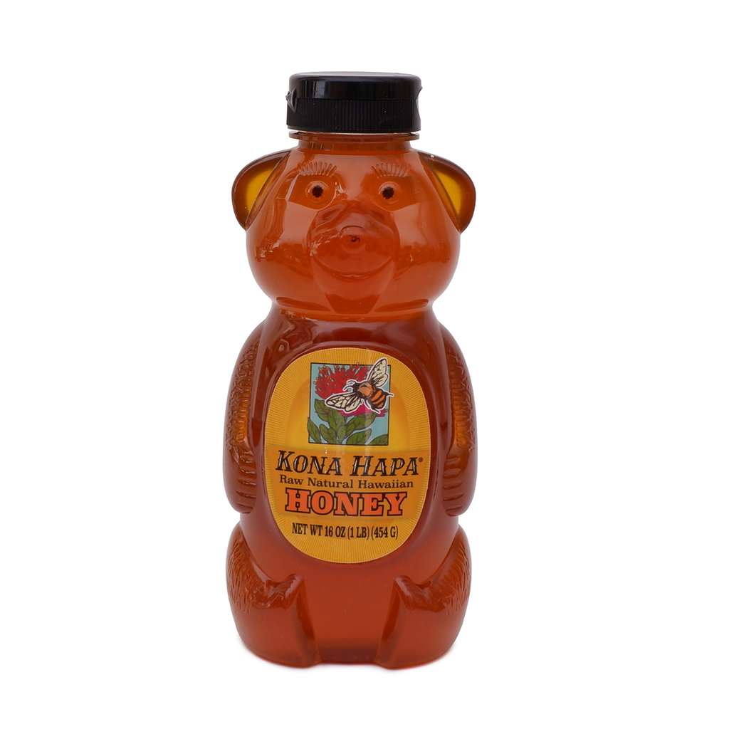 HONEY BEAR Pure Raw Natural Hawaiian Honey - 16 oz.