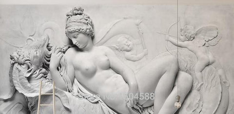 3D Black And White Angel Statue Wallpaper Mural, Custom Sizes Available Household-Wallpaper Maughon's