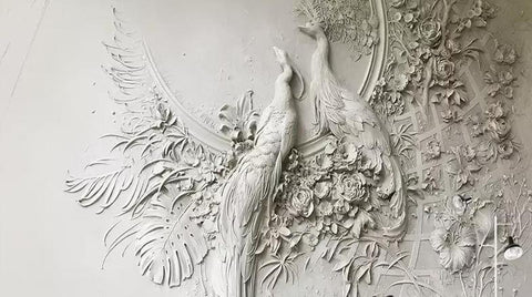 3D Embossed Peacock Wallpaper Mural, Custom Sizes Available Household-Wallpaper Maughon's