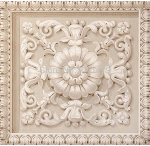 3D European Style Stone Carving Ceiling Wallpaper Mural, Custom Sizes Available