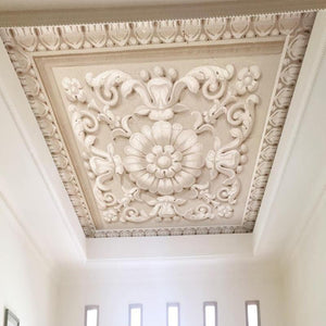 3D European Style Stone Carving Ceiling Wallpaper Mural, Custom Sizes Available Household-Wallpaper-Ceiling Maughon's