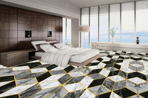 Image of 3D Marble Diamond Shaped Vinyl PVC Floor Mural, Self Adhesive, Custom Sizes Available Household-Wallpaper-Floor Maughon's