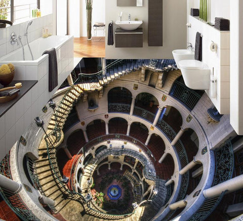 3D Spiral Staircase and Arches Floor Mural, Self Adhesive, Custom Sizes Available Household-Wallpaper-Floor Maughon's
