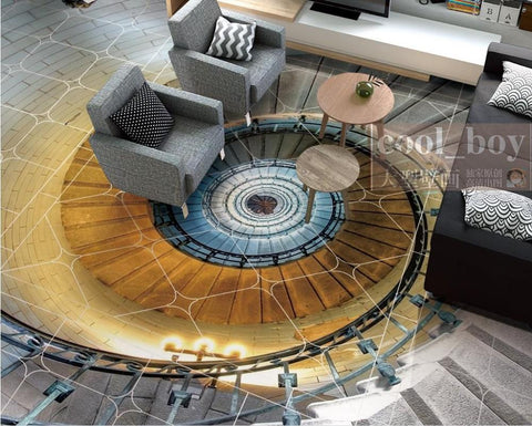3D Spiral Staircase With Rails Floor Mural, Self Adhesive, Custom Sizes Available Household-Wallpaper-Floor Maughon's