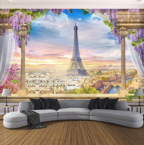 Balcony Overlooking Paris and Eiffel Tower Wallpaper Mural, Custom Sizes Available Household-Wallpaper Maughon's