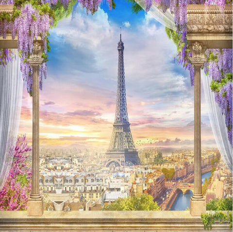 Image of Balcony Overlooking Paris and Eiffel Tower Wallpaper Mural, Custom Sizes Available Household-Wallpaper Maughon's