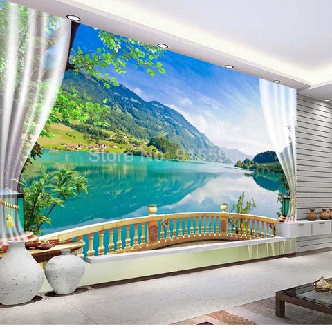 Image of Balcony Window Lake Forest Scenery Wallpaper Mural, Custom Sizes Available Household-Wallpaper Maughon's