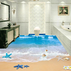 Beach and Seashells PVC Floor Mural, Self Adhesive, Custom Sizes Available Household-Wallpaper-Floor Maughon's