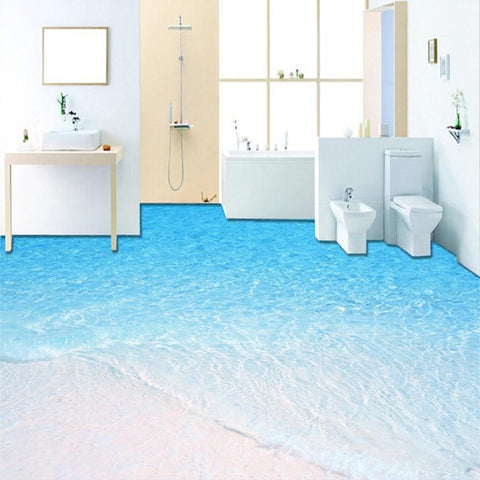 Beach and Seawater Floor Mural, Self Adhesive, Custom Sizes Available Household-Wallpaper-Floor Maughon's