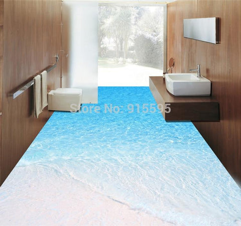 Image of Beach and Seawater Floor Mural, Self Adhesive, Custom Sizes Available Household-Wallpaper-Floor Maughon's