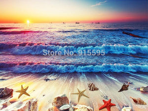 Beach and Shells at Sunset Floor Mural, Self Adhesive, Custom Sizes Available