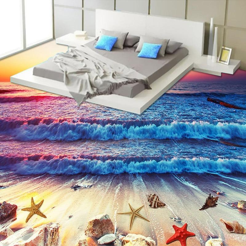 Beach and Shells at Sunset Floor Mural, Self Adhesive, Custom Sizes Available Household-Wallpaper-Floor Maughon's