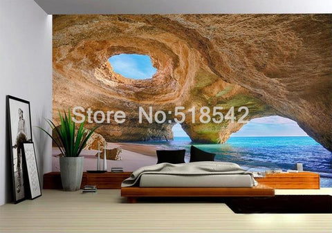 Beach Reef Cave Wallpaper Mural, Custom Sizes Available Household-Wallpaper Maughon's