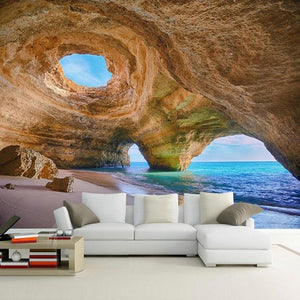 Beach Reef Cave Wallpaper Mural, Custom Sizes Available