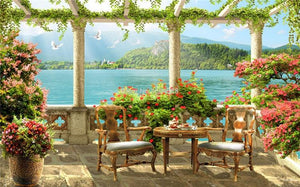 Beautiful Balcony With Lake Scenery Wallpaper Mural, Custom Sizes Available
