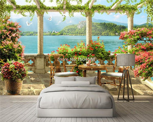 Beautiful Balcony With Lake Scenery Wallpaper Mural, Custom Sizes Available Household-Wallpaper Maughon's