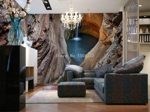Beautiful Cavern Waterfall Wallpaper Mural, Custom Sizes Available Household-Wallpaper Maughon's
