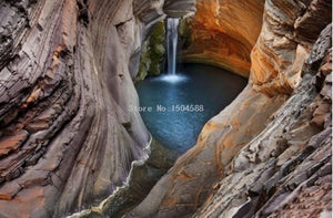 Beautiful Cavern Waterfall Wallpaper Mural, Custom Sizes Available