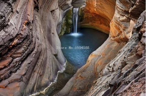Image of Beautiful Cavern Waterfall Wallpaper Mural, Custom Sizes Available Household-Wallpaper Maughon's