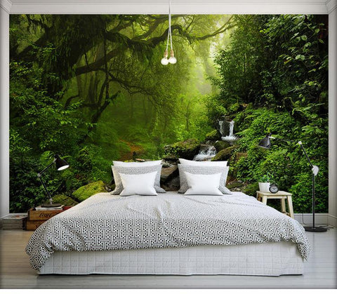 Image of Beautiful Forest and Stream Wallpaper Mural, Custom Sizes Available Household-Wallpaper Maughon's