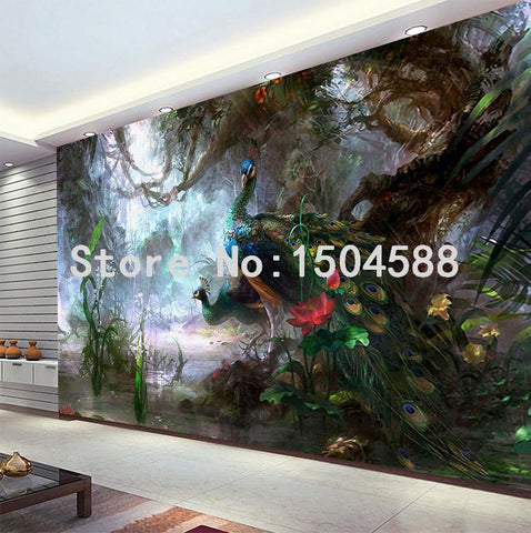 Image of Beautiful Peacock Forest Wallpaper Mural, Custom Sizes Available Household-Wallpaper Maughon's