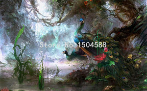 Beautiful Peacock Forest Wallpaper Mural, Custom Sizes Available