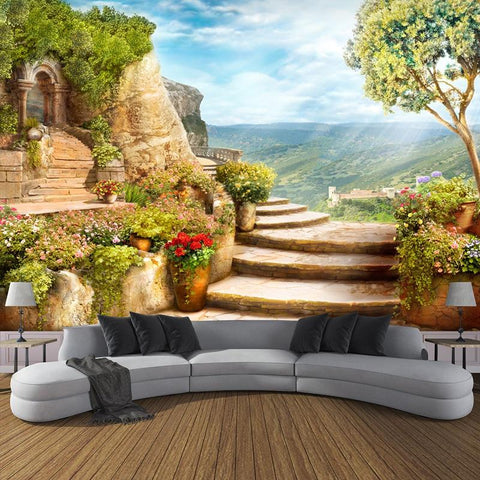 Beautiful Stone Walkway Wallpaper Mural, Custom Sizes Available Household-Wallpaper Maughon's