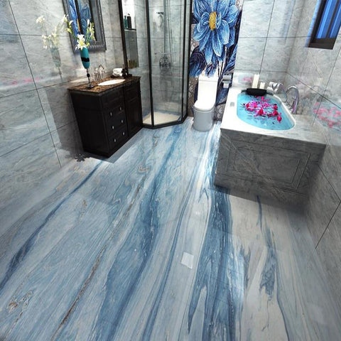 Image of Blue and White Marble-look PVC Vinyl Floor Mural, Self-Adhesive, Custom Sizes Available Household-Wallpaper-Floor Maughon's