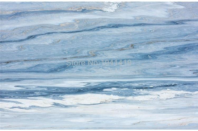 Blue and White Marble-look PVC Vinyl Floor Mural, Self-Adhesive, Custom Sizes Available Household-Wallpaper-Floor Maughon's