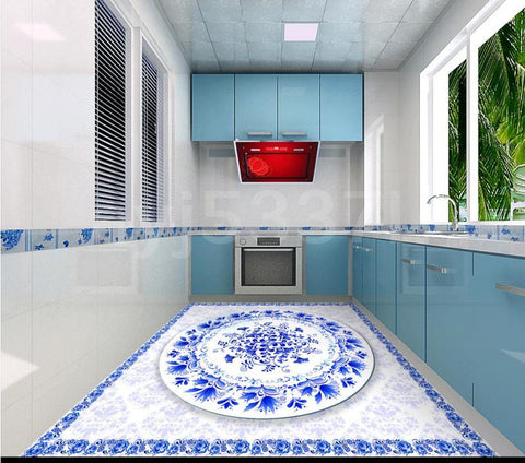 Blue and White Vinyl PVC Floor Mural,Self Adhesive, Custom Sizes Available Household-Wallpaper-Floor Maughon's
