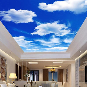 Blue Sky And White Clouds Ceiling Wallpaper Mural,  Custom Sizes Available