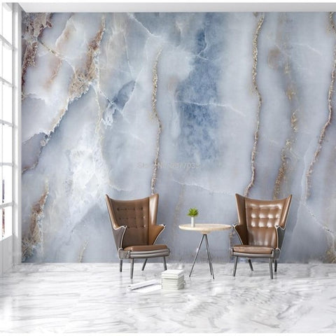 Blue/Gray Marble Stone Wallpaper Mural, Custom Sizes Available Household-Wallpaper Maughon's