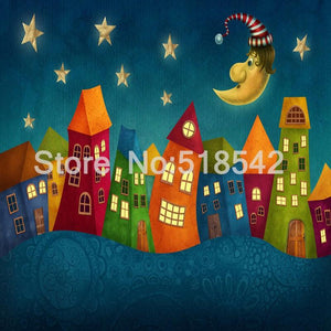 Cartoon Children Houses Mural Wallpaper, Custom Sizes Available