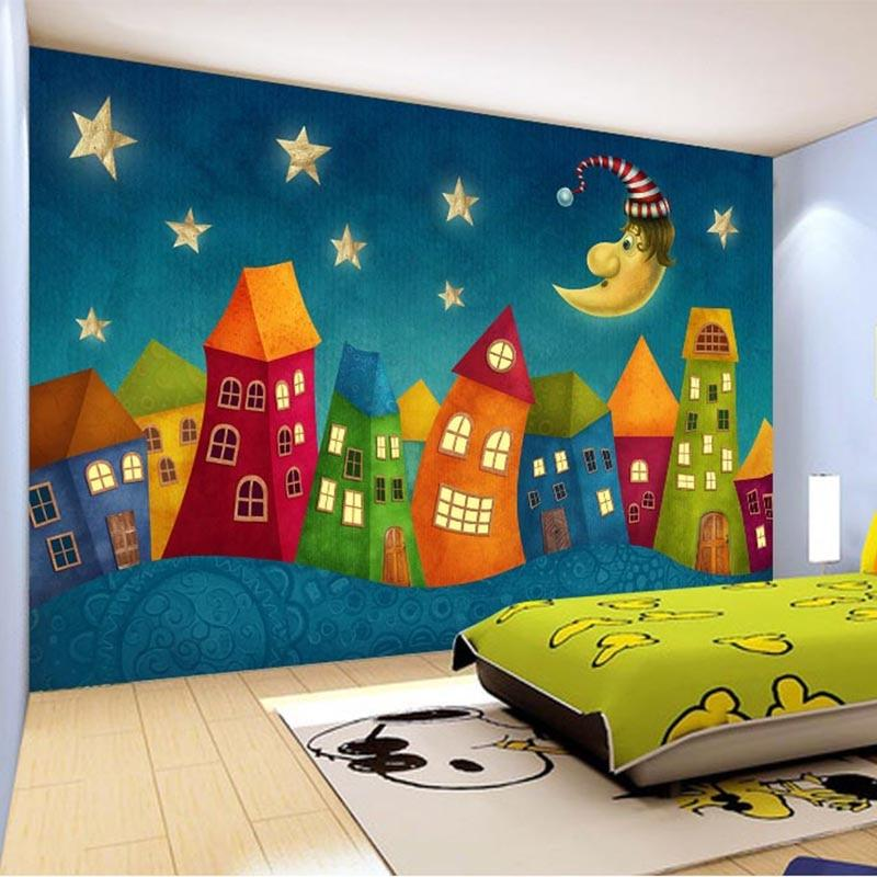 Cartoon Children Houses Mural Wallpaper, Custom Sizes Available Household-Wallpaper Maughon's