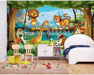 Cartoon Forest Background Wallpaper Mural, Custom Sizes Available