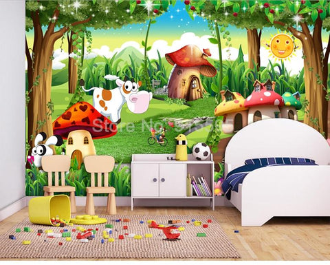 Cartoon Forest Wallpaper Mural, Custom Sizes Available Household-Wallpaper Maughon's