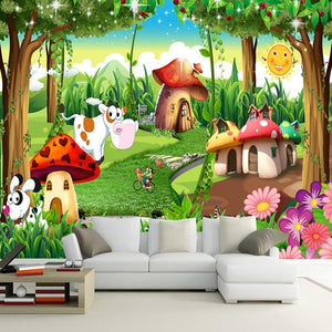 Cartoon Forest Wallpaper Mural, Custom Sizes Available