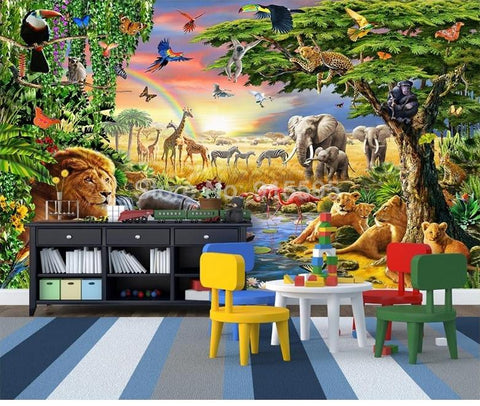 Image of Cartoon Grassland Animal, Lion, Zebra Wallpaper Mural, Custom Sizes Available Household-Wallpaper Maughon's