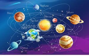 Cartoon Planet Solar System Wallpaper Mural, Custom Sizes Available